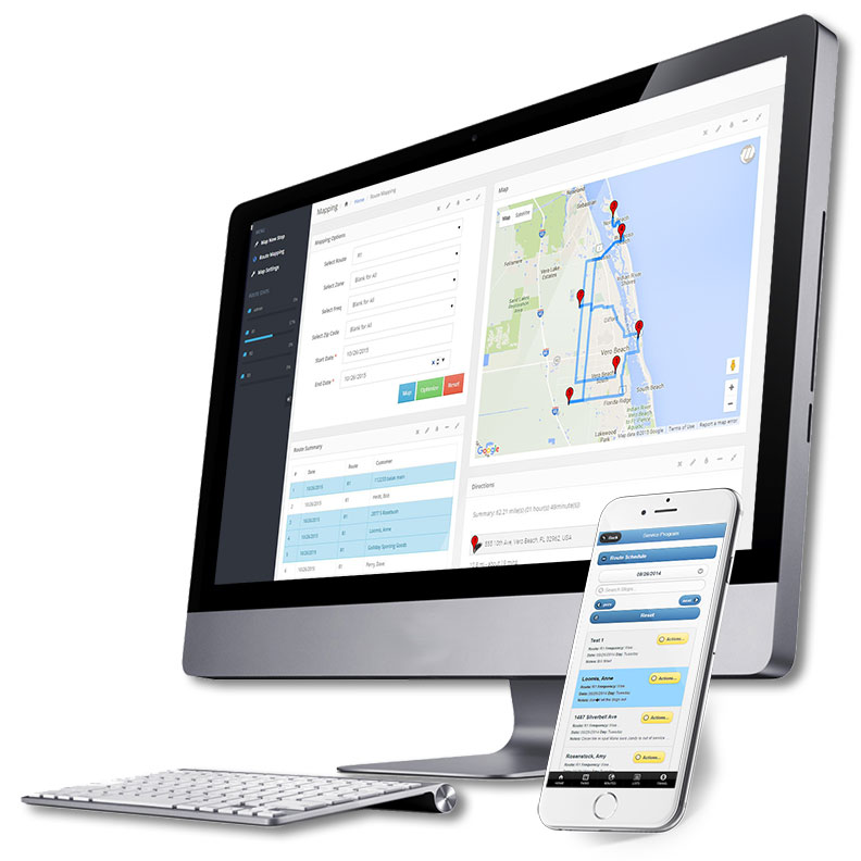 Landscape route mapping software shown on desktop and mobile app